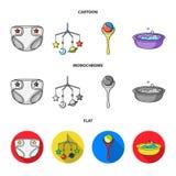 Barnblöjor, en leksak över lathunden, en pladder, barn badar Behandla som ett barn födda uppsättningsamlingssymboler i tecknade f Arkivbild