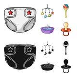 Barnblöjor, en leksak över lathunden, en pladder, barn badar Behandla som ett barn födda uppsättningsamlingssymboler i tecknade f Arkivfoto