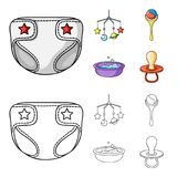 Barnblöjor, en leksak över lathunden, en pladder, barn badar Behandla som ett barn födda uppsättningsamlingssymboler i tecknade f Royaltyfri Fotografi