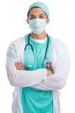 Barndoktorsstående med ove för ` s för doktor för jobb för ockupation för framsidamaskering arkivbild