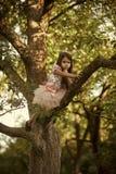 Barndom Filial för barnklättringträd i sommarträdgård, hemlighet eller tystnad Arkivfoto
