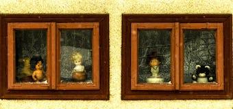 Barndom i ett fönster Arkivfoto