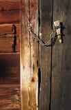 Barndoor lock. Barn door chain hasp lock Stock Photos