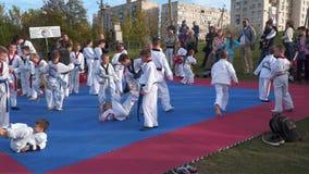 Barndrev i öppen luft Taekwondo stock video