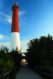 Barnegat Light. A path leads to the red and white Barnegat Lighthouse on the New Jersey Shore Stock Images
