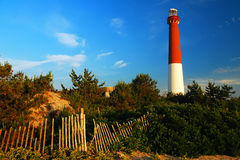 Barnegat Light. The red and white tower of Barnegat Light, or Old Barney, rises over the beach on the Jersey Shore Royalty Free Stock Images
