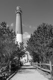 Barnegat Lighthouse, New Jersey, black and white portrait. Barnegat Lighthouse, New Jersey, off the Atlantic Coast, entranceway portrait in black and white royalty free stock images