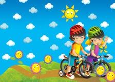 Barnen på turen - illustration Fotografering för Bildbyråer