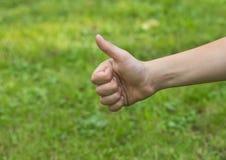 Barnens hand visar nummer ett Arkivfoto