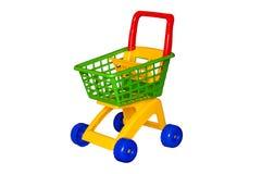 Barnens vagn för en supermarket som isoleras på Arkivbild