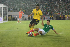 Barnes and Marquez fighting for the ball during Copa America Cen Royalty Free Stock Photo