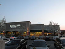 Barnes and Noble book store with blooming white trees in front of it. Shopping plaza on Rt 18 in NJ USA. Stock Photo