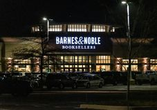 Barnes and Noble Eatontown. New York City, United States - November 19 2018: Night shot of Barnes and Noble frontage at Monmouth Mall stock photos