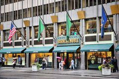Barnes Noble, New York. NEW YORK, USA - JULY 1, 2013: People walk past Barnes and Noble headquarters bookstore at 5th Avenue in New York. BN bookstore business Stock Photography