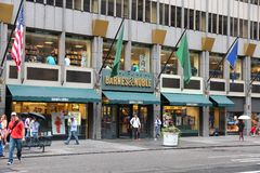 Barnes and Noble. NEW YORK, USA - JULY 1, 2013: People walk past Barnes and Noble headquarters bookstore at 5th Avenue in New York. BN bookstore business dates Royalty Free Stock Images