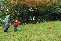 Barnet avlar med hans lilla son som spelar fotboll på grön gräs- gräsmatta royaltyfri bild