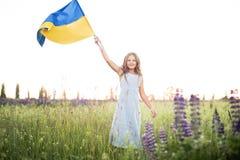 Barnet bär att fladdra den blåa och gula flaggan av Ukraina i lupinefält Ukraine& x27; s-självständighetsdagen för dagfyrverkerie arkivfoto
