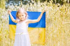 Barnet bär att fladdra den blåa och gula flaggan av Ukraina i vetefält Ukraine& x27; s-sj?lvst?ndighetsdagen f?r dagfyrverkerier  fotografering för bildbyråer