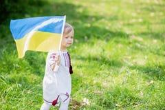Barnet b?r att fladdra den bl?a och gula flaggan av Ukraina i f?lt Sj?lvst?ndighetsdagen f?r Ukraina ` s f?r dagfyrverkerier f?r  arkivfoto