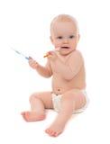 barnet behandla som ett barn ungen som spelar medicinska insulininjektionssprutor Royaltyfri Fotografi