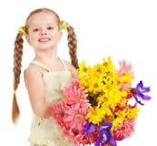 barnet blommar den lyckliga holdingen Arkivbilder