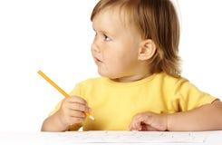 barnet crayons gullig draw royaltyfria foton