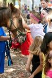 Barnet daltar hästen på djurlivfestivalen royaltyfri fotografi