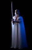 Barnet elven flickan med det isolerade svärdet Royaltyfri Fotografi