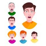 Barnet för vektor för folkfasaframsidor förvånade chockar det extremt ståenden skrämt rätt uttryck för teckensinnesrörelser stock illustrationer