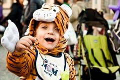 Barnet fancydressed av tiger i Piazza del Popolo Royaltyfria Foton
