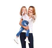 Barnet fostrar och hennes lilla dotter som isoleras på vit arkivfoton