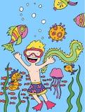 barnet går snorkeling Royaltyfri Bild