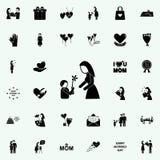 barnet ger blommamodersymbolen Fostra \ 'den universella uppsättningen för s-dagsymboler för rengöringsduk och mobil stock illustrationer