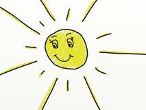 Barnet gillar att dra av en sol Arkivfoto