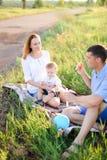 Barnet gläder föräldrar som sittling på gräs med litet, behandla som ett barn och blåser bubblor royaltyfri fotografi