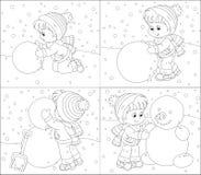 Barnet gör en snögubbe Arkivfoton