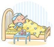 Barnet har fått influensa och ligger i säng med en termometer Arkivbild