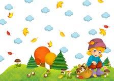 Barnet i hösten Arkivfoton