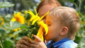 Barnet i hans moders armar som spelar med blomman Royaltyfri Fotografi