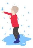 Barnet i regnet Royaltyfri Foto
