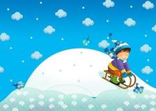 Barnet i vintern på pulkan Arkivfoto