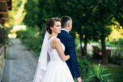 Barnet kopplar ihop, bruden och brudgummen som går och tycker om deras bröllopdag solsken Sommar Arkivbilder
