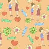 Barnet kopplar ihop förälskat har gyckel I på helgdagsafton för nya år eller st-valentindag stock illustrationer
