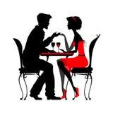 Barnet kopplar ihop förälskat sammanträde i ett kafé detaljerad vec för kontur Royaltyfri Illustrationer