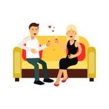 Barnet kopplar ihop förälskat sammanträde på en soffaillustration royaltyfri illustrationer