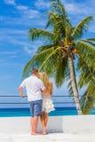 Barnet kopplar ihop på den tropiska ön, utomhus- bröllopceremoni Arkivfoton