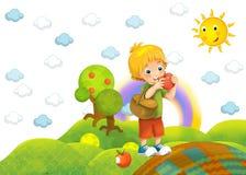 Barnet med ett äpple i parkera Fotografering för Bildbyråer