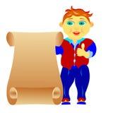 Barnet med ett ark av papper Fotografering för Bildbyråer