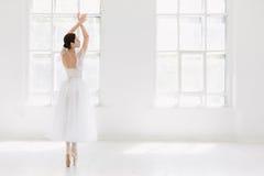 Barnet och den incredibly härliga ballerina är posera och dansa i en vit studio Royaltyfri Bild