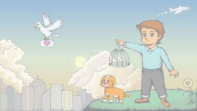 Barnet och hunden överför förälskelsebrevet Arkivfoto